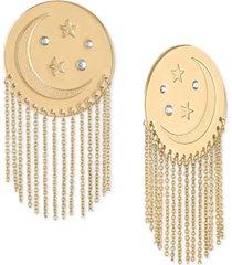 rachel rachel roy gold-tone moon & star disc chain drop earrings
