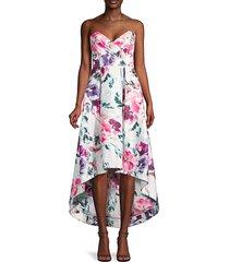 parker women's paulina strapless floral dress - juliet bouquet - size 00