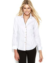 calvin klein long-sleeve leopard-trim blouse