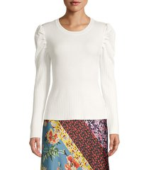 puff-sleeve ribbed pullover
