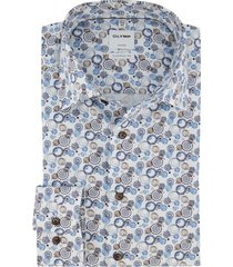 olymp overhemd comfort fit blauw printje