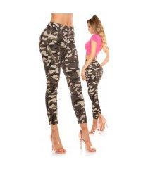 sexy camouflage jeans met vlinder print leger-kleurig