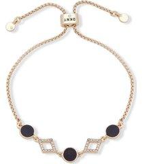 dkny gold-tone stone & crystal bolo bracelet