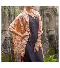 batik silk shawl, 'ceplok temple in tangerine' (indonesia)