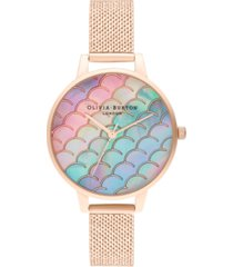 olivia burton women's under the sea rose gold-tone stainless steel mesh bracelet watch 34mm