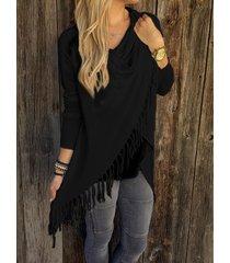 black drape sagging long sleeves wrap knit top