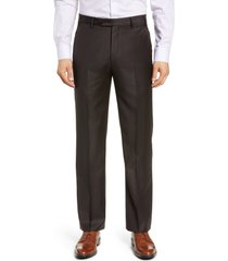 men's big & tall zanella todd relaxed fit flat front solid wool dress pants, size 46 x - brown