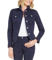 charter club polka-dot denim jacket, created for macy's