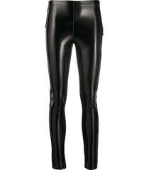karl lagerfeld patent slim leggings - black