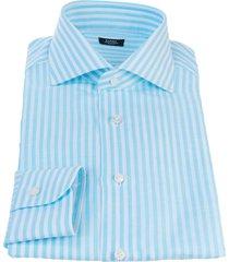 barba napoli barba turquoise and white striped shirt