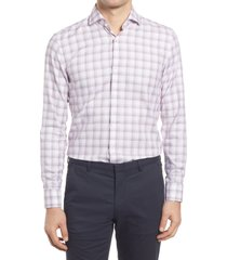 men's boss jason slim fit check dress shirt, size 16 - red