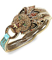 goldtone & crystal lion bracelet