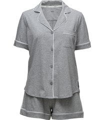 dkny new signature s/s top & boxer pj pyjamas grå dkny homewear