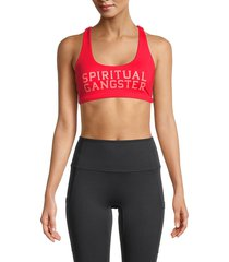 spiritual gangster women's graphic sports bra - red - size xs