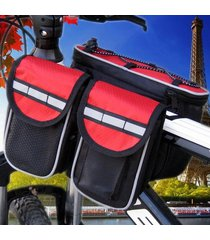 bicycle front frame bag cycling pouch bike pannier storage double pouches case