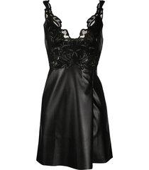 ermanno scervino faux leather mini dress - black