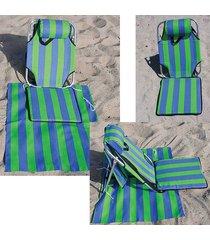 portable backpack beach chair w/ lounger mat+ pouch light weight aluminum 1.5 lb