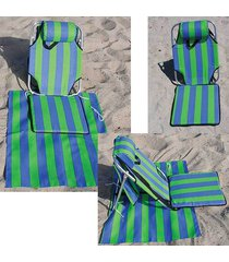 portable backpack beach chair w/ lounger mat+ pouch light weight aluminum 1.5 lb