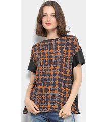 blusa open couro ferro feminina