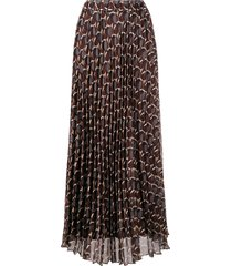 p.a.r.o.s.h. abstract-print a-line chiffon skirt - brown