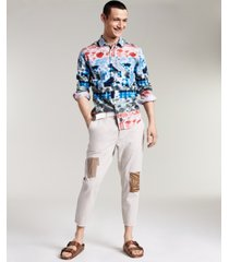 sun + stone men's abel printed tie dye patch shirt, created for macy's