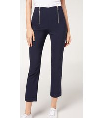 calzedonia double zip cigarette leggings woman blue size s