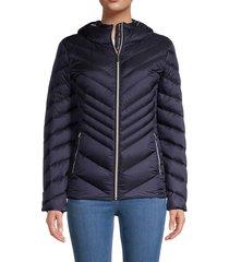 michael michael kors women's packable hooded puffer jacket - black - size s