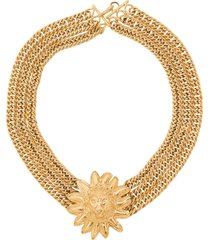 chanel pre-owned 1975-1985 lion head necklace - gold