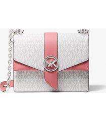 mk borsa a tracolla greenwich piccola in pelle saffiano color-block con logo - tea rose/white - michael kors