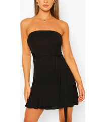 bandeau frill mini dress, black