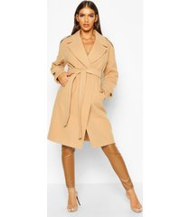 belted collared wool look coat, camel