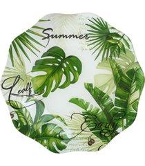 conjunto 4 pratos de vidro p/sobremesa de 20cm – linha leaves verde