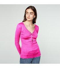 zanzea algodón de las mujeres tops 2018 más el tamaño blusas moda kinitted camisas de manga larga con cuello en v atractivo strech sólido blous blusas femininas rose -rojo
