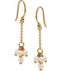 ava nadri 18k gold-plated shaky imitation pearl cluster chain drop earrings
