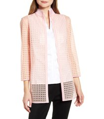 women's ming wang open cane woven jacket, size x-large - coral