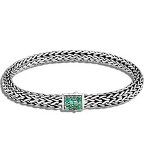 classic chain' birthstone emerald sapphire sterling silver bracelet - may