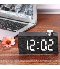 reloj de alarma led de madera con sensor digital reloj de-