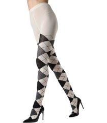 textured argyle sweater women's tights