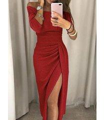 rojo fuera del hombro media manga fruncido vestido