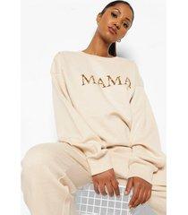zwangerschaps luipaardprint mama sweater, stone