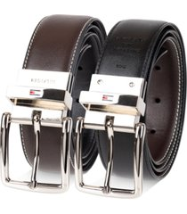 men's reversible textured tommy hilfiger feather-edge logo belt, created for macy's