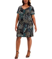 connected plus size printed fit & flare dress