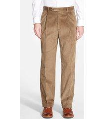 men's berle pleated classic fit corduroy trousers, size 35 x unhemmed - beige