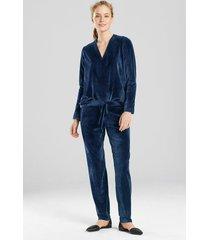 velour long sleeve top pajamas, women's, blue, size s, n natori