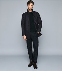 reiss angelo - wool blend mid length coat in navy, mens, size xxl