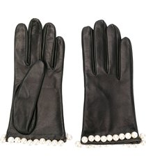 manokhi pearl embellished gloves - black