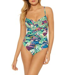 women's bleu by rod beattie mio ruched one-piece swimsuit