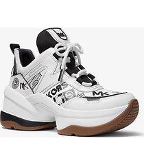 mk sneaker olympia in pelle con mix di loghi - bianco ottico/nero (nero) - michael kors