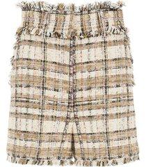 msgm tartan tweed shorts