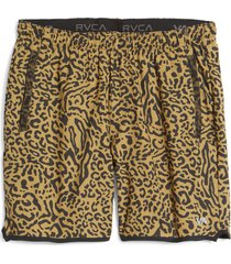 men's rvca yogger stretch shorts, size small - brown